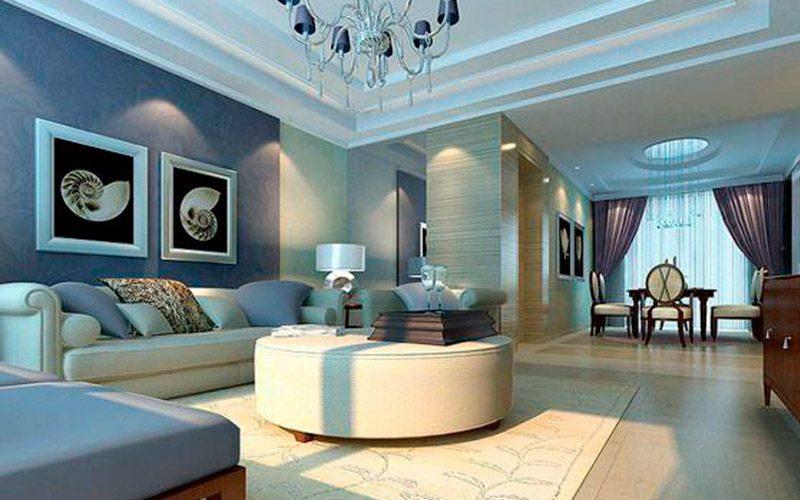 Decoración del salón en dos colores