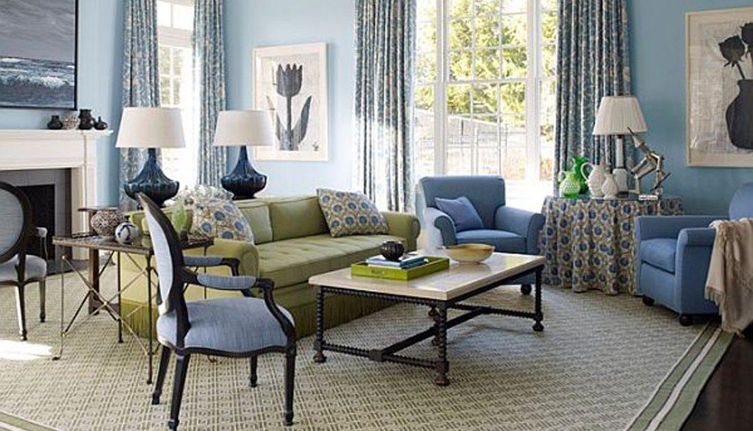 Ideas para pintar el sal n for Sky blue living room ideas